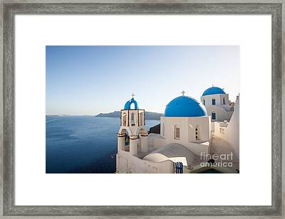 Blue And White Churches In Santorini Greece Framed Print by Matteo Colombo
