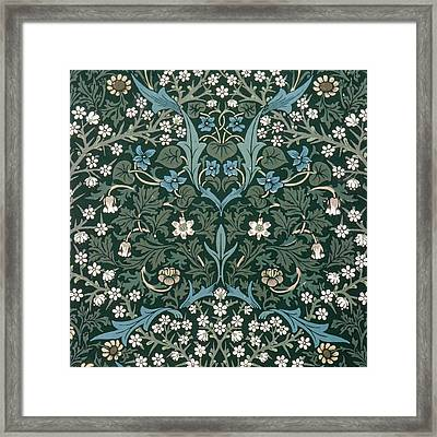 Blue And White Flowers On Green Framed Print