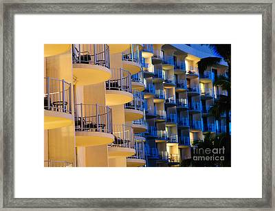 Blue And White Hotel Balcony Abstract. Framed Print