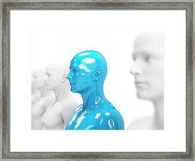 Blue And White Human Models Framed Print