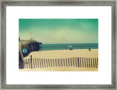 Blue And White Framed Print by Laurie Search