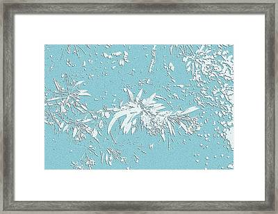 Blue And White Leaves Framed Print