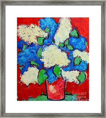 Blue And White Lilac Bouquet Framed Print by Ana Maria Edulescu