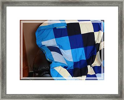 Blue And White Patchwork Quilt Framed Print by Barbara Griffin