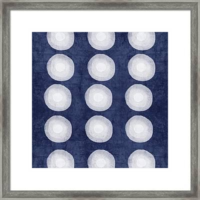 Blue And White Shibori Balls Framed Print
