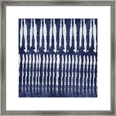 Blue And White Shibori Design Framed Print by Linda Woods