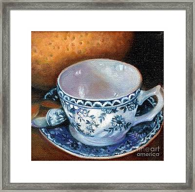 Blue And White Teacup With Spoon Framed Print by Marlene Book