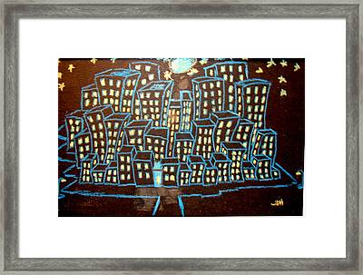 Blue House On The Left Framed Print