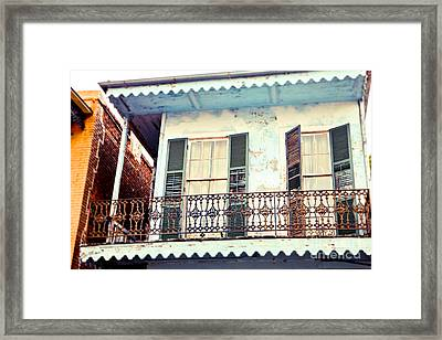 Framed Print featuring the photograph Blue And Yellow House by Sylvia Cook