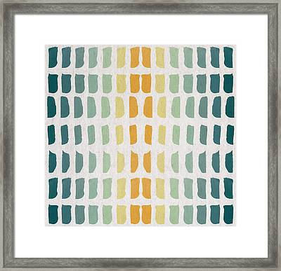 Blue And Yellow Pattern Framed Print by Aged Pixel
