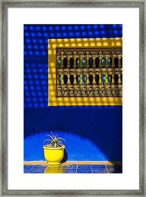 Blue And Yellow Patterns Framed Print