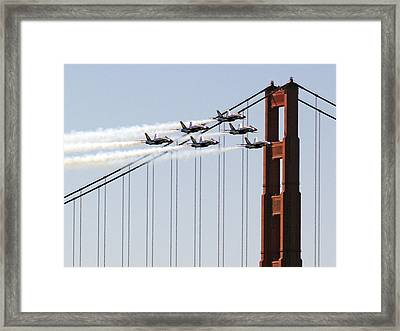 Blue Angels And The Bridge Framed Print by Bill Gallagher