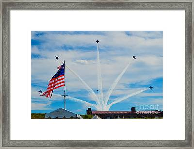 Blue Angels Bomb Burst In Air Over Fort Mchenry Finale Framed Print