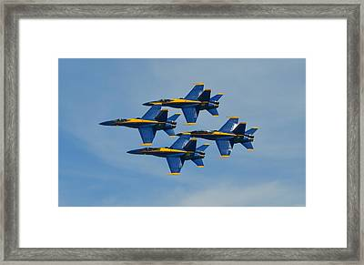 Blue Angels Diamond Formation Over Pensacola Beach Framed Print by Jeff at JSJ Photography
