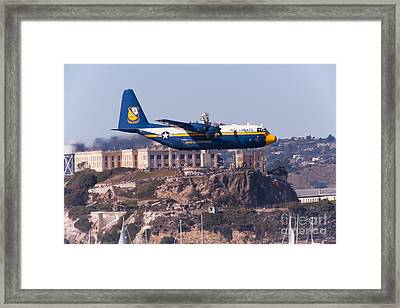 Blue Angels Fat Albert C130t Hercules Through San Francisco Alcatraz Island At Fleet Week 5d29571 Framed Print by Wingsdomain Art and Photography
