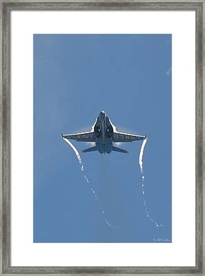Blue Angels Ghost Appears Head-on Over Pensacola Beach Framed Print by Jeff at JSJ Photography