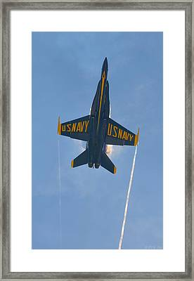 Blue Angels Ghost Appears Over Pensacola Beach Framed Print by Jeff at JSJ Photography