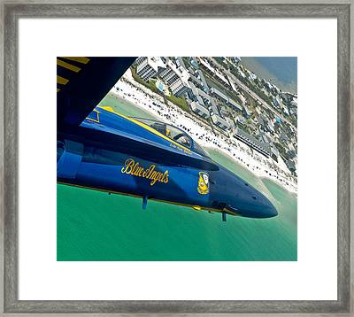 Blue Angels Over Pensacola Beach Framed Print by Specialist 2nd Class Andrea Perez