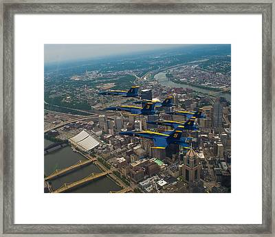 Blue Angels Over Pittsburg Framed Print by Specialist 2nd Class Kathryn E Macdonald