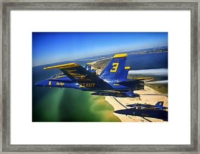 Blue Angels Over The Florida Coastline Framed Print by Mountain Dreams