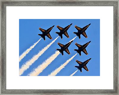 Blue Angels Overhead Framed Print by Benjamin Yeager