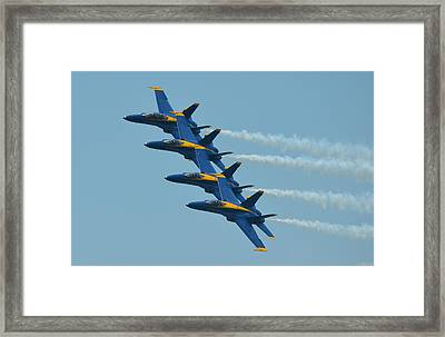 Blue Angels Practice Echelon Formation Over Pensacola Beach Framed Print by Jeff at JSJ Photography