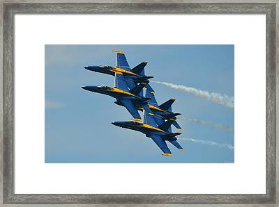 Blue Angels Practice Formation Over Pensacola Beach Framed Print by Jeff at JSJ Photography