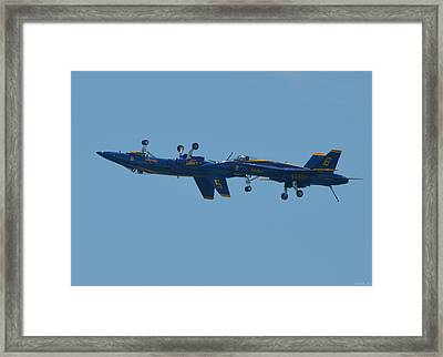 Blue Angels Practice Up And Down With Low And Slow Framed Print by Jeff at JSJ Photography