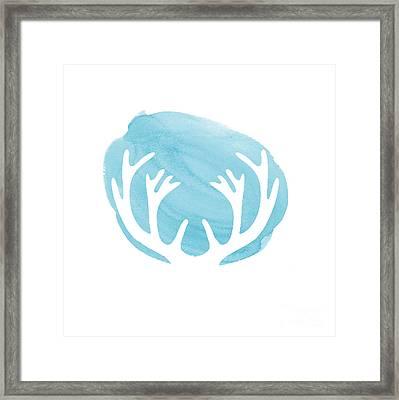 Blue Antlers Framed Print