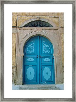 Blue Applique Door Framed Print by Donna Corless