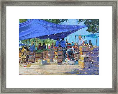 Blue Awnings Framed Print by Jackie Simmonds