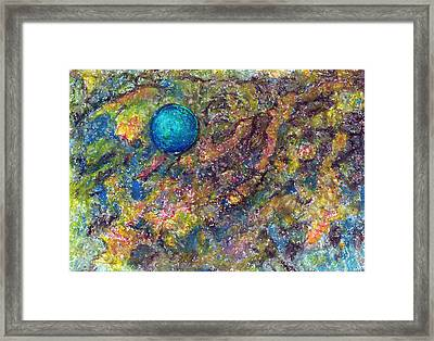 Blue Ball In Space Framed Print by Yuri Lushnichenko