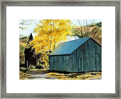 Blue Barn Framed Print by Barbara Jewell