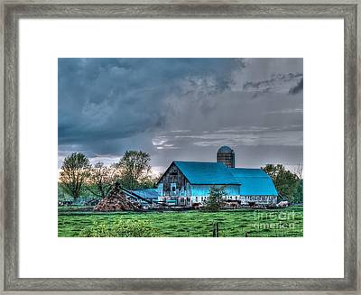 Blue Barn Framed Print