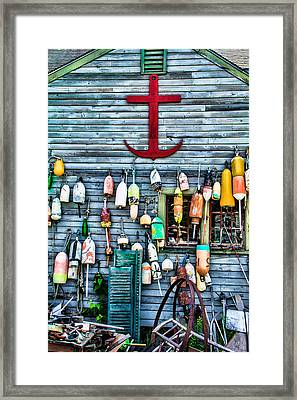 Blue Barn Buoys Framed Print by Steven Bateson