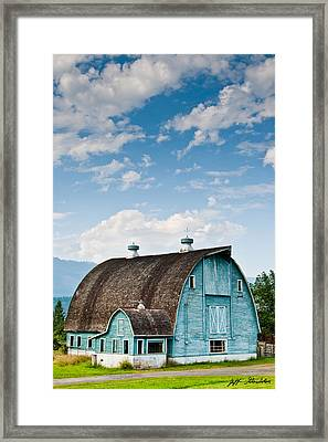 Blue Barn In The Stillaguamish Valley Framed Print