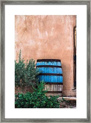 Blue Barrel With Adobe Framed Print