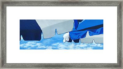 Blue Beach Umbrellas 2 Framed Print