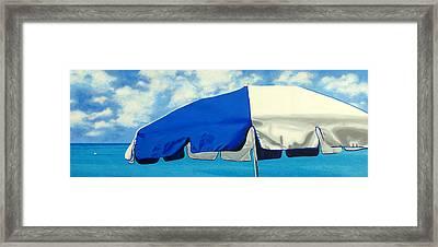 Blue Beach Umbrellas 1 Framed Print