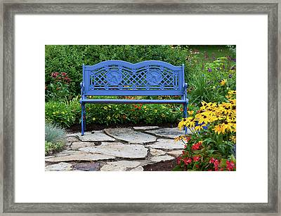 Blue Bench And Stone Path In A Flower Framed Print
