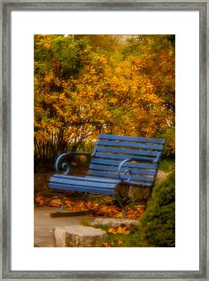 Blue Bench - Autumn - Deer Isle - Maine Framed Print