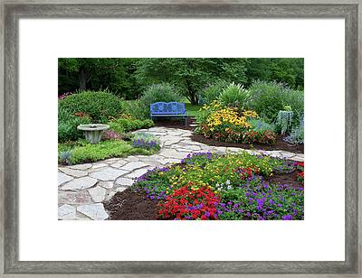 Blue Bench, Birdbath And Stone Path Framed Print