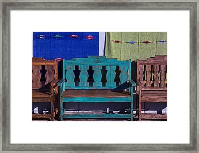 Blue Bench Framed Print by Garry Gay