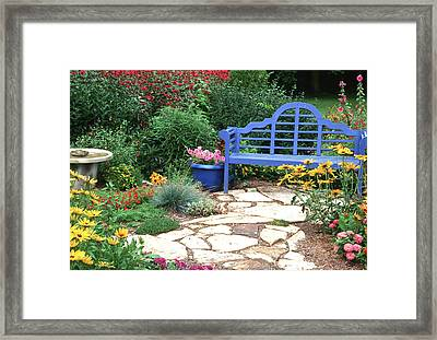 Blue Bench, Potted Plants And Birdbath Framed Print