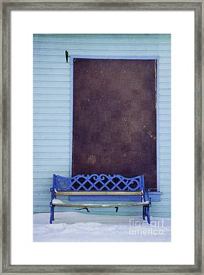 Blue Bench Framed Print by Priska Wettstein