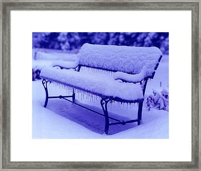 Blue Bench Framed Print by Susan Crossman Buscho