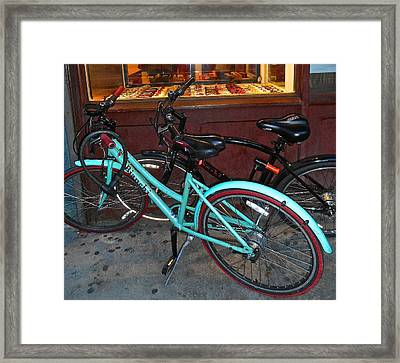 Blue Bianchi Bike Framed Print by Joan Reese