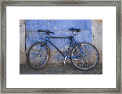 Blue Bike Blue Wall Painterly Effect Framed Print