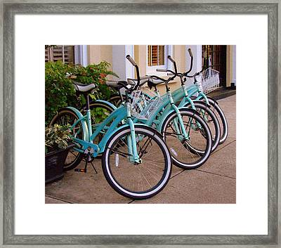 Blue Bikes Framed Print by Rodney Lee Williams