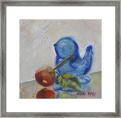 Blue Bird And Cherry Framed Print